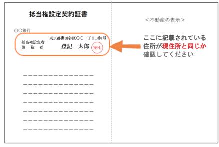 抵当権設定契約証書で設定時の住所を確認